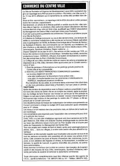 Article en réaction au reportage de la RTBF sur la Ville de Rochefort