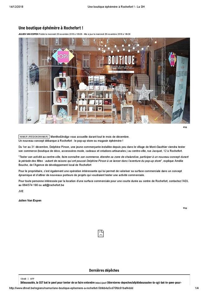Une boutique éphémère à Rochefort - La DH (28/11/2018)